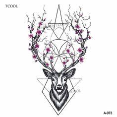 Wyuen Hot Designs Deer Temporary Tattoo For Women Tattoo Body Art Waterproof Hand Fake Tattoo Sticker Elk Animal - Art - Tattoo Designs For Women Tatoo Art, Deer Tattoo, Get A Tattoo, Arm Tattoo, Color Tattoo, Tattoo For Man, Stag Tattoo Design, Hand Tatto, Shape Tattoo