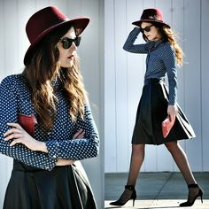 Dots,Leather and Burgundy (by Laura Views) http://lookbook.nu/look/4519307-Dots-Leather-and-Burgundy
