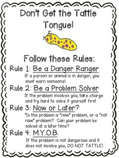 """Do your students tattle a lot?  Do they not understand what is and is not a tattle?  Here is a great set of activities to use with the book, """"A Bad Case of Tattle Tongue.""""  Included in this download are a variety of cut and paste, coloring, writing, and drawing activities for various levels of learners.Included in this download:- poster with tattle rules- identify/color tattles and reports- drawing tattle and report- I Said - tattles and reports- tattles in the book vs."""