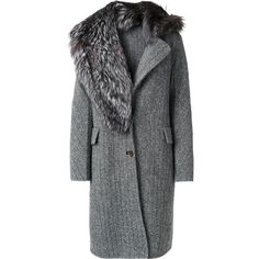 Ermanno Scervino fur detail coat (248.660 RUB) ❤ liked on Polyvore featuring outerwear, coats, grey, fox fur trim coat, grey coat, gray coats, ermanno scervino and fox coat
