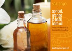[ DIY Recipe - Apricot, Orange and Basil Bath Oil ] Using apricot kernel oil, sweet orange essential oil, and basil essential oil. ~ from MB Spice Co