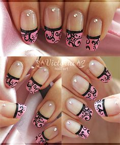Pink & Black French Tip Nails