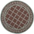 Chelsea Brown/Blue 5 ft. 6 in. x 5 ft. 6 in. Round Area Rug