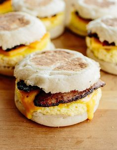 How To Make Freezer-Friendly Breakfast Sandwiches — Cooking Lessons from The Kitchn (Fast Easy Meal Freezer Cooking) Breakfast And Brunch, Breakfast Recipes, Frozen Breakfast, Freezer Breakfast Sandwiches, Homemade Breakfast, Breakfast At Work Ideas, Breakfast You Can Freeze, Breakfast Before Workout, Avacado Breakfast