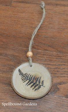 Handmade Rustic Wood Burn Fern Leaf Holiday Wood Slice Tree Ornament #Handmade