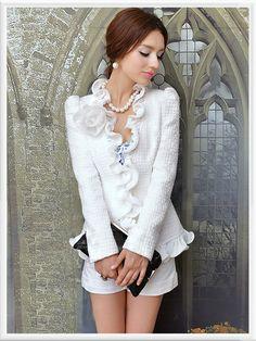 Morpheus Boutique  - White Ruffle Long Sleeve Knit Sweater Jacket