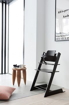 stokke tripp trapp high chair and stool | simple sleek design in black white