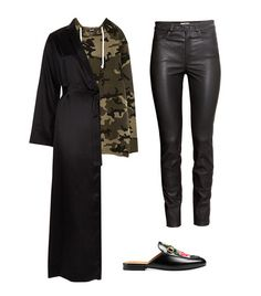 Shop the Look: La Perla Silk Long Robe (464); Zara Camouflage Sweatshirt ($30); H&M Leather Pants ($349); Gucci Princetown Leather Slipper ($750).