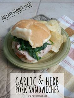 Garlic and Herb Pork Sandwiches - my easy take on the Philly roast pork sandwich #GetBacktoPork #DeliciousInMinutes #weavemade #ad @smithfieldfoods