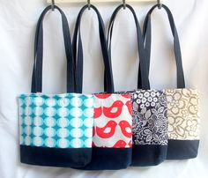 Tote bags. Colourful cotton fabric and denin. www.madeit.com.au/Looma Craft Stalls, Handmade Accessories, Tote Bags, Diaper Bag, Cotton Fabric, Crafts, Color, Fashion, Busy Bags