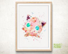 Pokemon Go Prints Jigglypuff Prints Watercolor Art by MarcoFriend