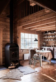 my scandinavian home: Before & After: A Dated Cabin Becomes a Dreamy Airbnb Hideaway In The Woods Farmhouse Lighting, Rustic Lighting, Cabin Lighting, Scandinavian Cabin, Scandinavian Design, San Myshuno, I Miss My Family, Photos Originales, Norwegian Wood