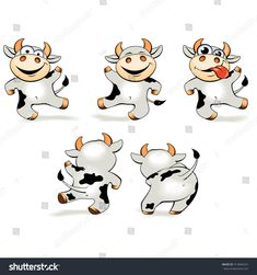 Kawaii Doodles, Cute Kawaii Drawings, New Year Illustration, Cute Illustration, Colorful Drawings, Cool Drawings, Cow Clipart, Doddle Art, Flower Art Drawing