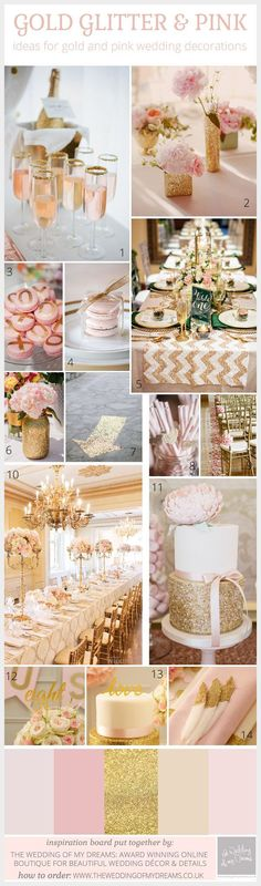 Wedding Themes Pink And Gold Glitter Wedding Inspiration Board and Decoration Ideas - Have you chosen a pink and gold glitter colour scheme for your wedding? We love this colour combo the soft pinks look stunning against the metallic gold and a bit Gold Glitter Wedding, Gold Wedding Theme, Pink And Gold Wedding, Glitter Party, Gold Party, Wedding Themes, Wedding Colors, Dream Wedding, Wedding Ideas