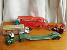 LESNEY MATCHBOX, ERTL & HUSKY   --4  MATCHED CABS & TRAILERS -VARYING CONDITION - http://www.matchbox-lesney.com/50531