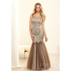 Taupe Fitted Trumpet Prom Gown With Full Flared Skirt