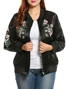 6dc09722 Women's Embroidered Floral Phenix Plus Size Vintage Casual Bomber Jacket -  Black - Clothing, Coats, Jackets & Vests, Quilted Lightweight Jackets  Lightweight ...