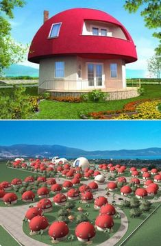 Unique Mushroom shaped Holiday Homes located at Akbuk Bay, Altinkum, Turkey. The entire vacation village will be made up of mushroom-like homes...