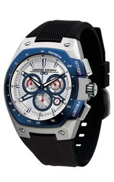 Jorg Gray JG8300-24 Men s Watch Chronograph White and Blue Dial Black  Silicone Strap 7aef4ee7dfddc