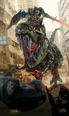 En medio de la ciudad de Bejin,Optimus Prime sobre el lomo del #Dinobot Grimlock va en auxilio de sus #Autobots