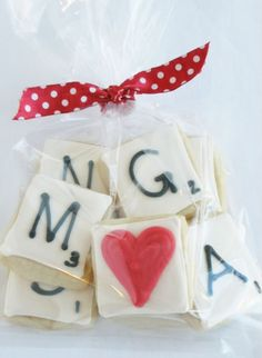Cute scrabble letter cookies.  Nice idea for a party favor.  Would also work as cupcakes.