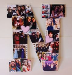 A picture collage in the shape of the first letter of the friends name