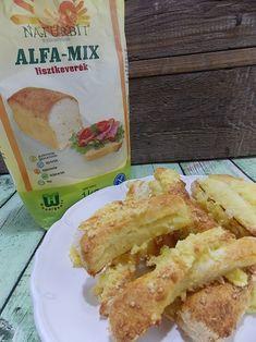 Gluténmentes sajtos rúd recept|NATURBIT Alfa-Mix lisztkeverékből Rum, French Toast, Tacos, Mexican, Breakfast, Ethnic Recipes, Food, Morning Coffee, Meal