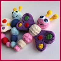 Crochet Toys For Boys Butterfly baby rattle crochet pattern - printable PDF – Amigurumi Today Shop - Crochet Baby Toys, Crochet Amigurumi Free Patterns, Crochet Dolls, Free Crochet, Crochet Gifts, Crochet Butterfly, Butterfly Baby, Borboleta Crochet, Baby Rattle