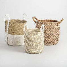 Charming form meets handy function in our medium Bianca basket, handwoven in Indonesia of seagrass in a bold two-tone design with braided handles. Plant Basket, Bamboo Basket, Basket Bag, World Market Store, Desert Fashion, Paint Supplies, Big Plants, Garden Plants, Animal Skulls