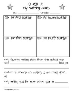 Quarterly writing assessments for kids