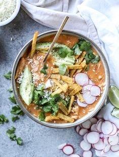 cheesy turkey (or chicken!!) tortilla soup with crispy tortilla strips I howsweeteats.com #chickentortillasoup #tortillastrips #soup