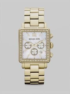 Michael Kors - Crystal Accented Rectangle Chronograph Watch/Goldtone - Saks.com