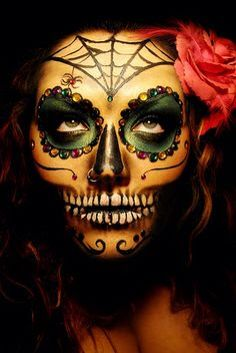 Did a similiar Dia de los Muertos Skull Makeup for Halloween this year - except with a whiter face - It was definitely a hit! Looks Halloween, Halloween Kostüm, Halloween Face Makeup, Halloween Costumes, Skeleton Costumes, Sugar Skull Halloween, Holiday Costumes, Vintage Halloween, Makeup Gothic