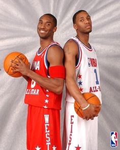 Kobe and Tracy Mcgrady All Star Picture 2003 Kobe Bryant Family, Kobe Bryant Nba, Tracy Mcgrady, Nba Pictures, Basketball Pictures, Nba Stars, Sports Stars, Nba Players, Basketball Players