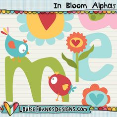 This is a set of letters, created with cure flowers and birds...this is perfect for cute blog headers and other crafts. We also have a layered version available too, if you're looking to change the colours. CU versions also available. Files are supplied in png form at 300dpi.