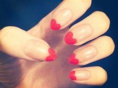 Heart Tip Nails nails red heart nail pretty nails nail ideas nail designs Heart Tip Nails, Heart Nail Art, Love Nails, How To Do Nails, My Nails, Duck Nails, Vegas Nails, Claw Nails, Style Nails