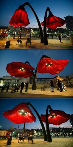 Warde by HQ Architects. The flowers open and close in reaction to people passing by or every time a tram arrives.