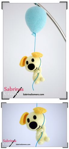 Driving knitted dog on a balloon