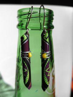 Funky Purple Recycled Soda Can Earrings