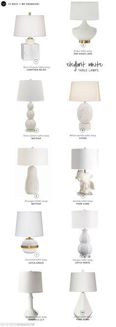 10 BEST: Elegant white table lamps