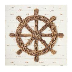 CBK Driftwood Ship Wheel Plaque Wall Decor