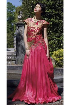 Designer Pink Color Georgette Gown - Shop Online - Online Shopping for Women Indian Dresses, Indian Outfits, Indian Clothes, Bridal Lehenga, Bridal Gowns, Gown Wedding, Net Gowns, Plus Size Gowns, Gowns Online