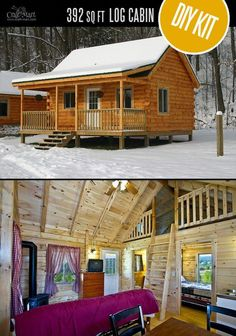Timbertrail Log Cabin - quality small log cabin kits and pre-built cabins that you can afford! Choose from a few options of pre-built cabins to small log cabin kits that you'll be able to assemble in weeks saving on labor close to of the total cost. Small Log Cabin Kits, Tiny Log Cabins, Small Cabin Plans, Tiny House Cabin, Log Cabin Homes, Tiny Cottages, Cheap Log Cabins, Small Cabins, Mountain Cabins