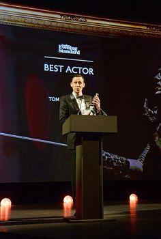 Tom Hiddleston. #ESTheatreAwards2014. Via Twitter.