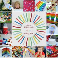 Cute rainbow themed party includes ideas for favors, snacks, decorations, cake, and games!