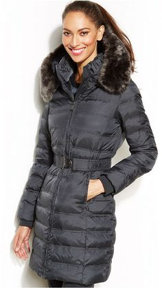 DKNY Hooded Faux-Fur-Trim Belted Down Puffer Coat on shopstyle.com