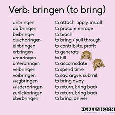 bringen Study German, Learn German, Learn French, German Language Learning, Language Study, Dual Language, German Grammar, German Words, Learning Languages Tips