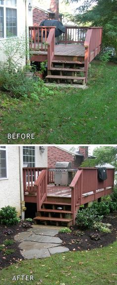wow, what an incredible deck transformation / before and after - just adding some stones, dirt, and plants really make a difference. #LandscapingEasy
