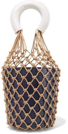 STAUD - Moreau Two-tone Macramé And Leather Bucket Bag - Midnight blue