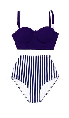 Navy Blue Underwire Underwired Midkini Top and Stripe Highwaisted High Waisted Waist Cut Bikini set Swimsuit Swimwear Bathing suit S M L XL by venderstore on Etsy